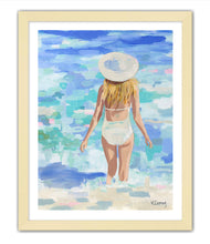 Load image into Gallery viewer, Kristin Cooney's fine art giclee print of a pretty woman in a white bathing suit at the beach, walking into the waves, has a feminine palm beach vibe and is the perfect art to add some fun and elegance any home decor, interior design.