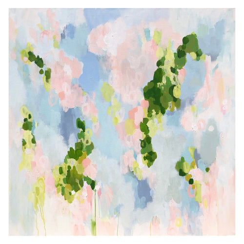 Happy Hour, colorful abstract painting with pink, green, white, and blue
