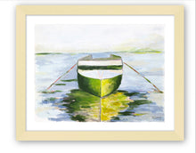 Load image into Gallery viewer, Kristin Cooney's art print has the beauty of green and a hint of pink in a water scene with a boat and reflection.  Perfect wall art for a beach house, lake house, coastal design.