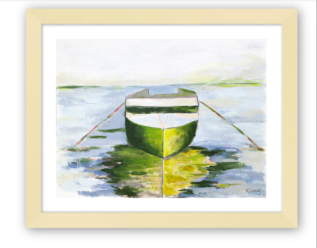Kristin Cooney's art print has the beauty of green and a hint of pink in a water scene with a boat and reflection.  Perfect wall art for a beach house, lake house, coastal design.