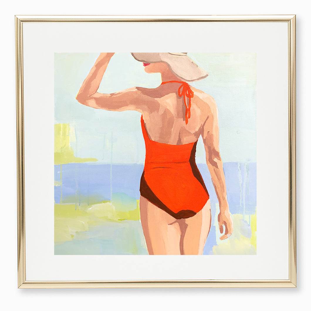 Kristin Cooney's fine art print from her Bathing Beauties collection, inspired by 1950's beach fashion and femininity. Woman in orange bathing suit and sun hat, on beach. Elegant nostalgic fashion art to add beauty to any home decor, interior design, beach house art, spa art, female figure art