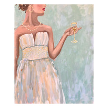 Load image into Gallery viewer, Kristin Cooney's original painting from her Glamorous Ladies collection, inspired by 1950's fashion and feminine charms.  Elegant fashion art to add beauty to any home decor, interior design, salon art, spa art, female figure art, bedroom art. Elegant art, wall art, dining room art, bar cart, cocktails, cocktail dress.