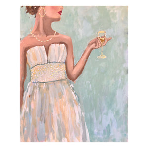 Kristin Cooney's original painting from her Glamorous Ladies collection, inspired by 1950's fashion and feminine charms.  Elegant fashion art to add beauty to any home decor, interior design, salon art, spa art, female figure art, bedroom art. Elegant art, wall art, dining room art, bar cart, cocktails, cocktail dress.