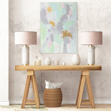 Load image into Gallery viewer, Kristin Cooney's fun abstract art print has light shades of mint with pink and even gold metallic paint to add more fun. The neutral gray in the background makes it suitable to add some beauty to a neutral home decor. Great as bedroom art, foyer art, living room art, salon art, gold paint