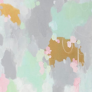 Mint Julep This fun abstract art print has light shades of mint with pink and even gold metallic paint to add more fun. The neutral gray in the background makes it suitable to add some beauty to a neutral home decor. Great as bedroom art, foyer art, living room art, salon art