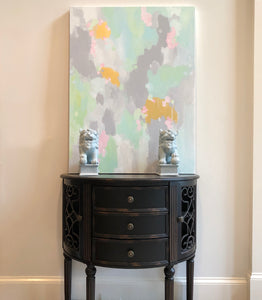 Kristin Cooney's fun abstract art print has light shades of mint with pink and even gold metallic paint to add more fun. The neutral gray in the background makes it suitable to add some beauty to a neutral home decor. Great as bedroom art, foyer art, living room art, salon art, chinoiserie