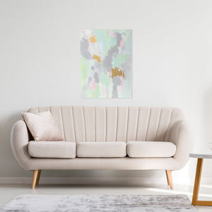 Kristin Cooney's fun abstract art print has light shades of mint with pink and even gold metallic paint to add more fun. The neutral gray in the background makes it suitable to add some beauty to a neutral home decor. Great as bedroom art, foyer art, living room art, salon art, gold paint