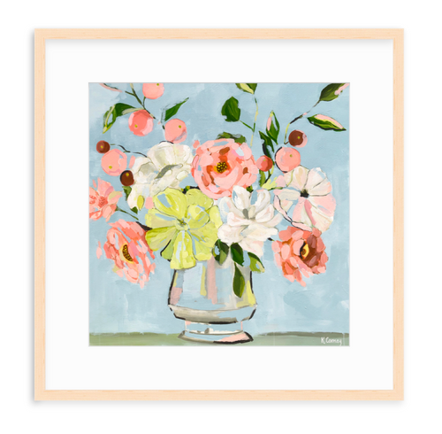 Floral Art Print by Kristin Cooney, pink, peach, blue.