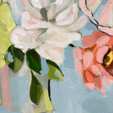 Load image into Gallery viewer, Floral Art Print by Kristin Cooney, pink, peach, blue.