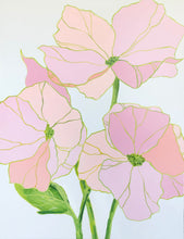 Load image into Gallery viewer, Kristin Cooney's pink floral original painting has petals of varying pinks and peaches that blend beautifully with chartreuse and green stems. Pastel colors and a balanced, elegant composition make this a true statement,chinoiserie, decor, home, midcentury wallpaper patterns, abstract flowers, nursery art