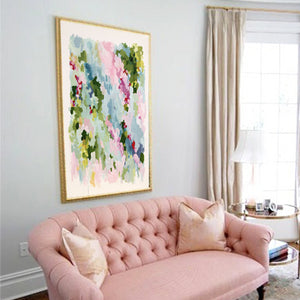 Kristin Cooney's pretty abstract art print of Roman Holiday has sophistication and elegance all wrapped in a display of pinks, greens, blues and pops of magenta, with even a little orange and red. This pretty abstract art is for any home decor. Large or small, this statement piece will get compliments galore