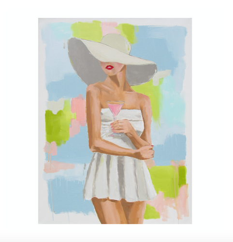 Kristin Cooney's original painting from her Bathing Beauties collection, inspired by 1950's beach fashion and femininity. Woman in white skirted bathing suit and sun hat, drinking pink cocktail. Elegant nostalgic fashion art to add beauty to any home decor, interior design, beach house art, spa art, female figure art