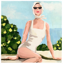 Load image into Gallery viewer, Kristin Cooney's original painting from her Bathing Beauties collection, inspired by 1950's beach fashion and feminine charms. Woman in white 1950's bikini and scarf, sitting at garden pool. Elegant nostalgic fashion art to add beauty to any home decor, interior design, beach house art, spa art, female figure art