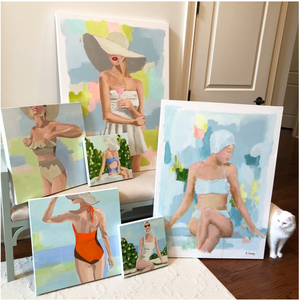 Kristin Cooney's original painting from her Bathing Beauties collection, inspired by 1950's beach fashion and feminine charms. Woman in white 1950's bikini and scarf, sitting at garden pool. Elegant nostalgic fashion art to add beauty to any home decor, interior design, beach house art, spa art, female figure art