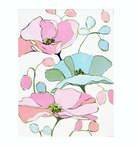 Kristin Cooney's original floral painting has the beauty of pink, blue and  green flowers. The happy colors unite to make each piece in the FLORA SERIES a source of joy, palm beach decor, chinoiserie, decor, home, midcentury wallpaper patterns. Floral art, flowers, pink flowers, abstract flowers, nursery art