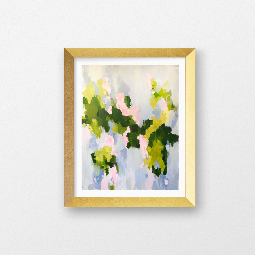 Kristin Cooney's elegant abstract art print has variations of pink, scattered throughout a background of greens, chartreuse, and blues. The blue- gray in the background makes it suitable to add some beauty to a neutral home decor. Great as bedroom art, foyer art, living room art, salon art