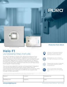 "Puro Helo F1 - UV Disinfecting Fixture, H-F1-24-6-P-COM-110 (with 24""x24"" flange)"
