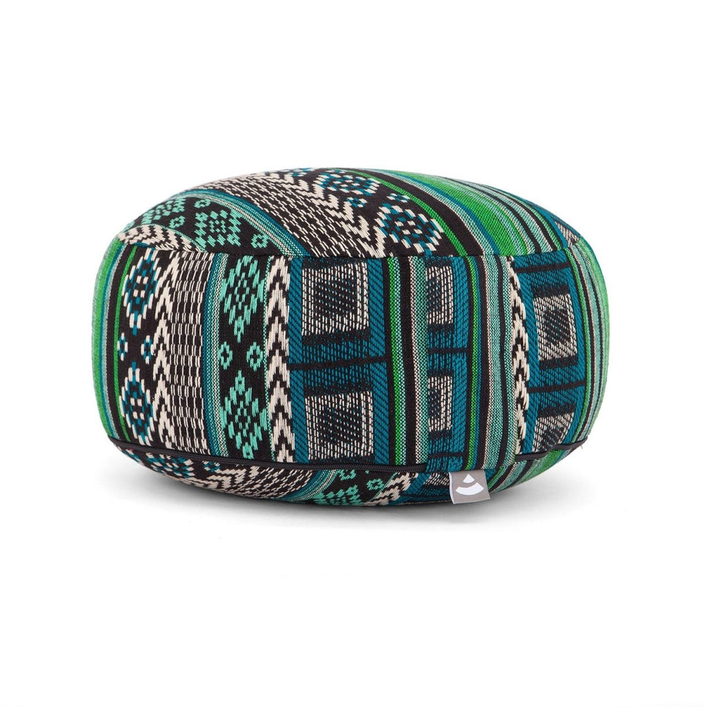 ETHNO Collection: meditation cushion RONDO patterned jacquard weave black-white-green, spelt hulls, removable cover (cotton) - Bodynova Shop