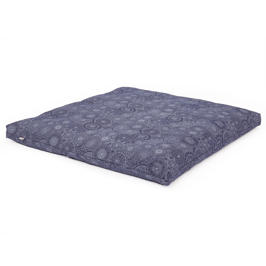 Maharaja Collection: Meditation Cushion Square, Zabuton in Mandala, Dark Blue - Bodynova Shop