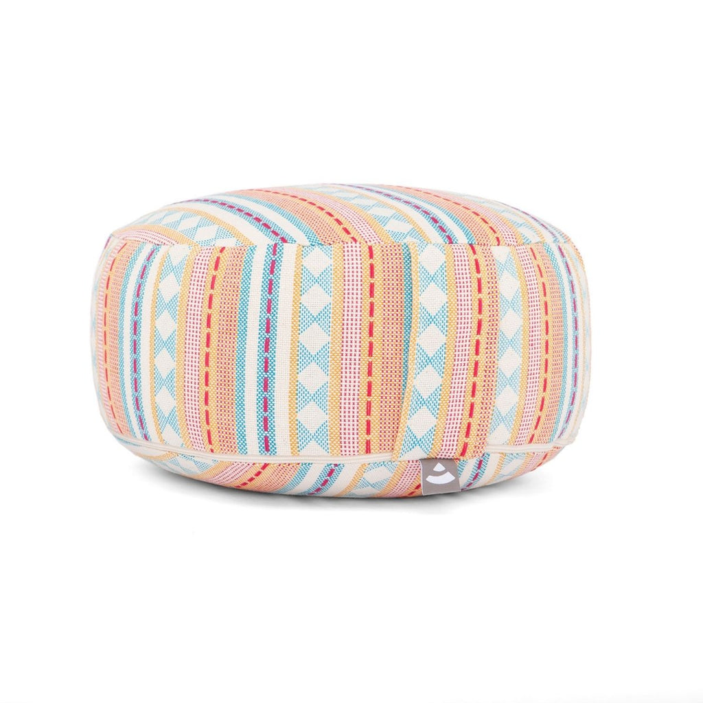 Patterns Collection: ROUND Meditation Cushion in Jacquard Apricot & Light Blue - Bodynova Shop