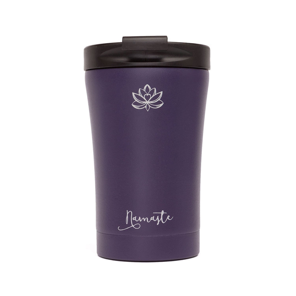 Reusable Stainless Steel 9.5oz Travel Mug (Violet Namaste) - Bodynova Shop