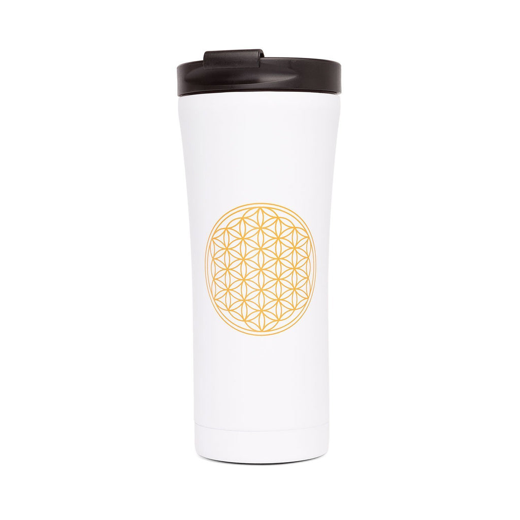Stainless Steel 16oz Travel Mug (White Flower of Life) - Bodynova Shop