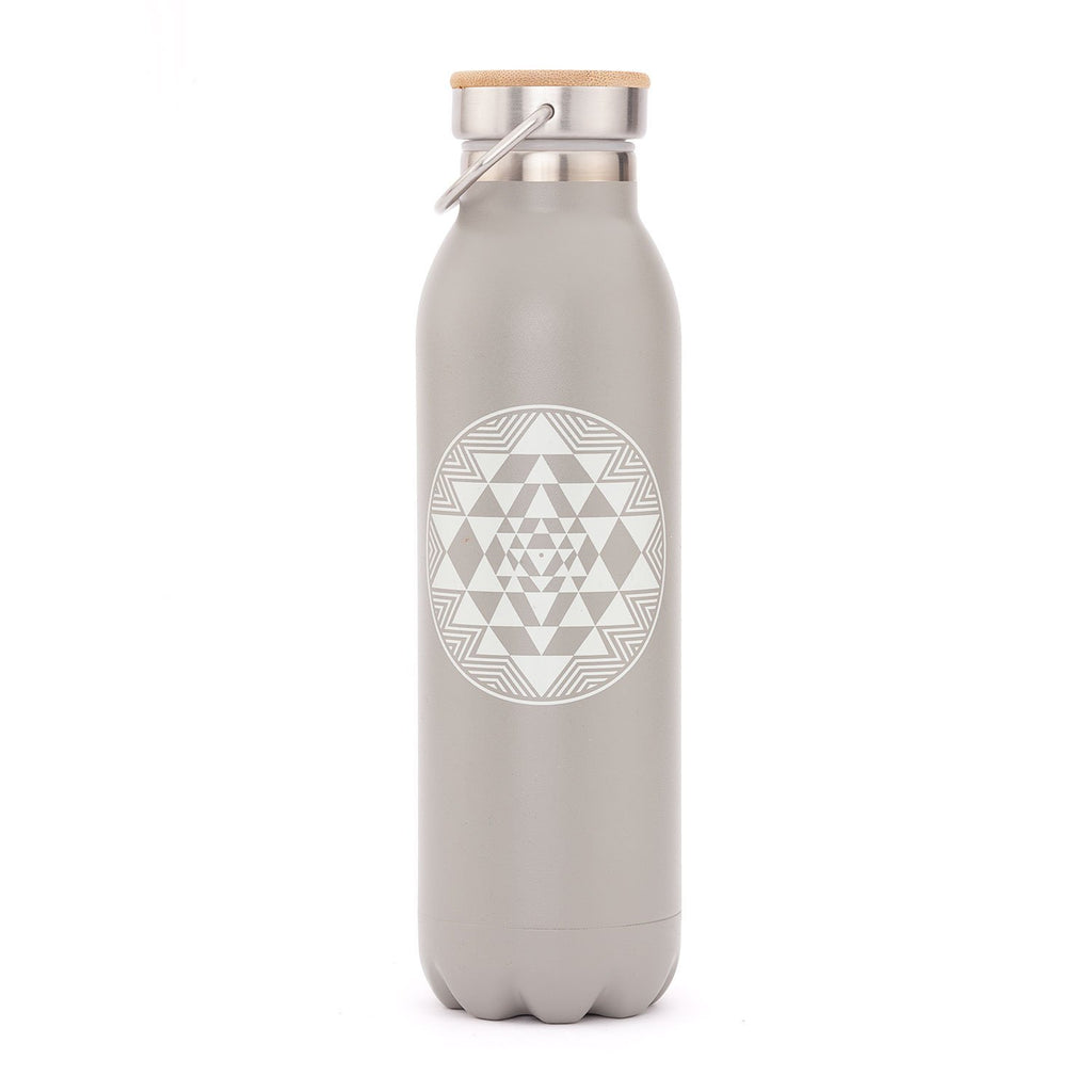 Stainless Steel Insulated Bottle (Matte Gray Yantra 20oz) - Bodynova Shop