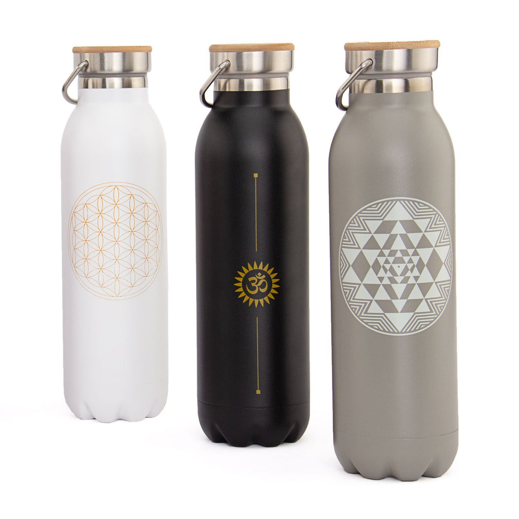 Stainless Steel Insulated Bottle (Matte White Flower of Life 20oz) - Bodynova Shop