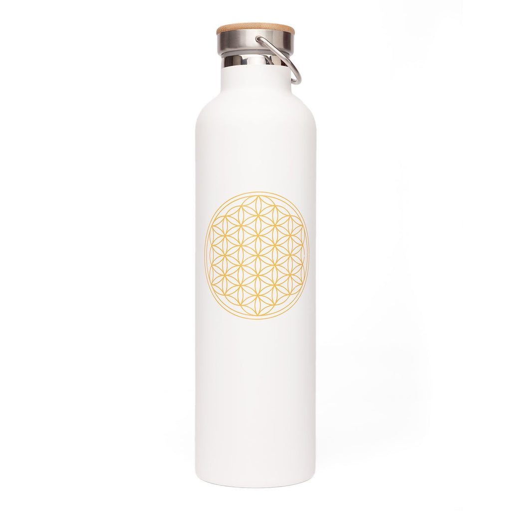 Stainless Steel Insulated Bottle (White Flower of Life 33oz) - Bodynova Shop
