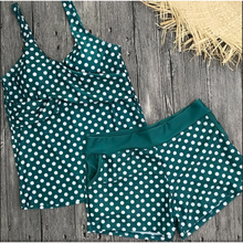 Load image into Gallery viewer, Green & white tankini