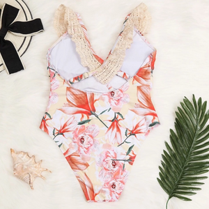 Floral and lace swimsuit