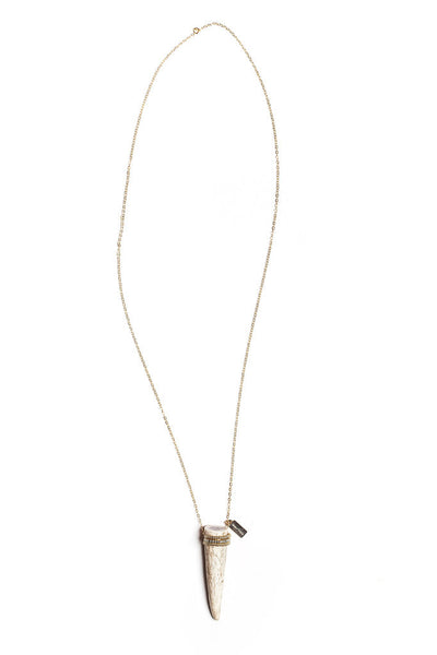 Small Mixed Metal Beaded Antler Tip Necklace - Tess+Tricia - Anima Mundi