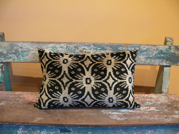 Black and Beige Medallion Silk Velvet Ikat Pillow - Anima Mundi