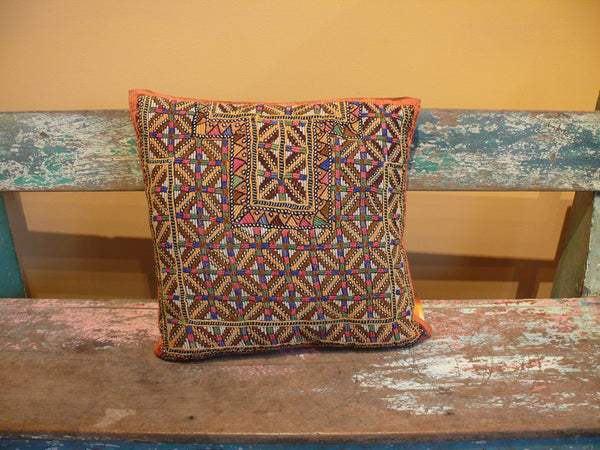 Indian Embroidered Pillow with Leather Back - Anima Mundi - 1