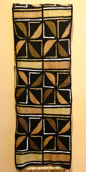 Bogolanfini Mud Cloth Runner, Burkina Faso - Stylized Flower - Anima Mundi
