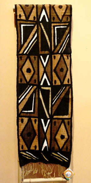 Bogolanfini Mud Cloth Runner, Burkina Faso - Diamond Cross pattern - Anima Mundi - 1