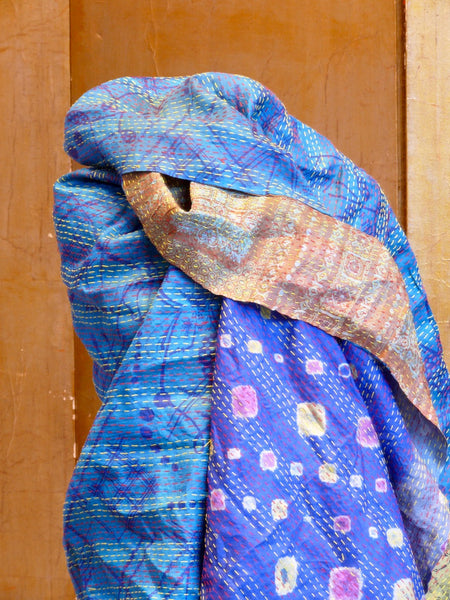 Vintage Silk Kantha Wrap - Blue/Gold - Anima Mundi