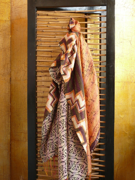 Vintage Silk Kantha Wrap - Warm Browns - Anima Mundi