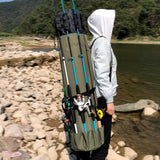 GHOTDA Fishing Bag Portable Multifunction Nylon Fishing Bags Fishing Rod Bag Case Fishing Tackle Tools Storage Bag