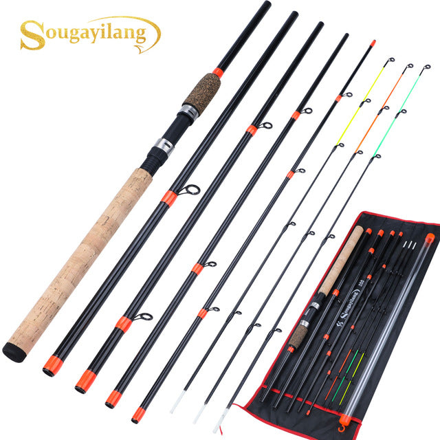 Sougayilang New Feeder Fishing Rod Lengthened Handle6 Sections Fishing Rod L M H Power Carbon Fiber Travel Rod Fishing Tackle