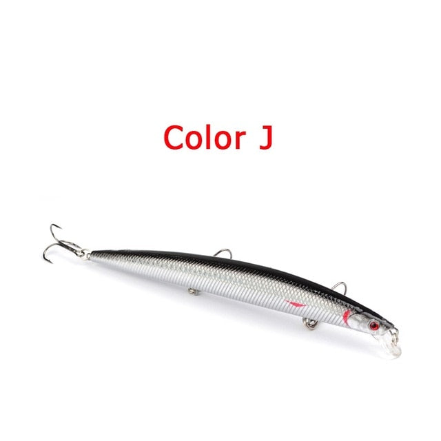 Hot selling 18cm 24g big long fish lures Minnow sea fishing lure artificial bait 3d eyes 3 bass hooks for sea fishing