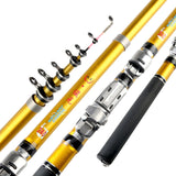 Portable Sea Fishing Rod Pole Carbon Fiber 1.8/2.1/2.4/2.7/3.0m Telescopic Spinning Reel Fish Tackle EDF88