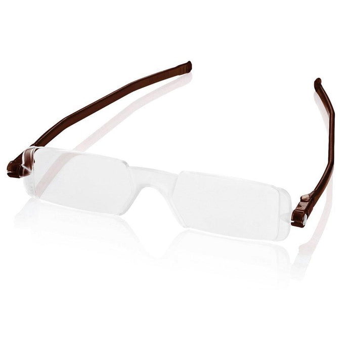 Nannini Compact 1 Italian Made Folding Reading Glasses with Case; Brown