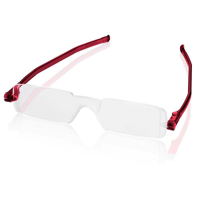 Nannini Compact 1 Italian Made Folding Reading Glasses with Case; Red