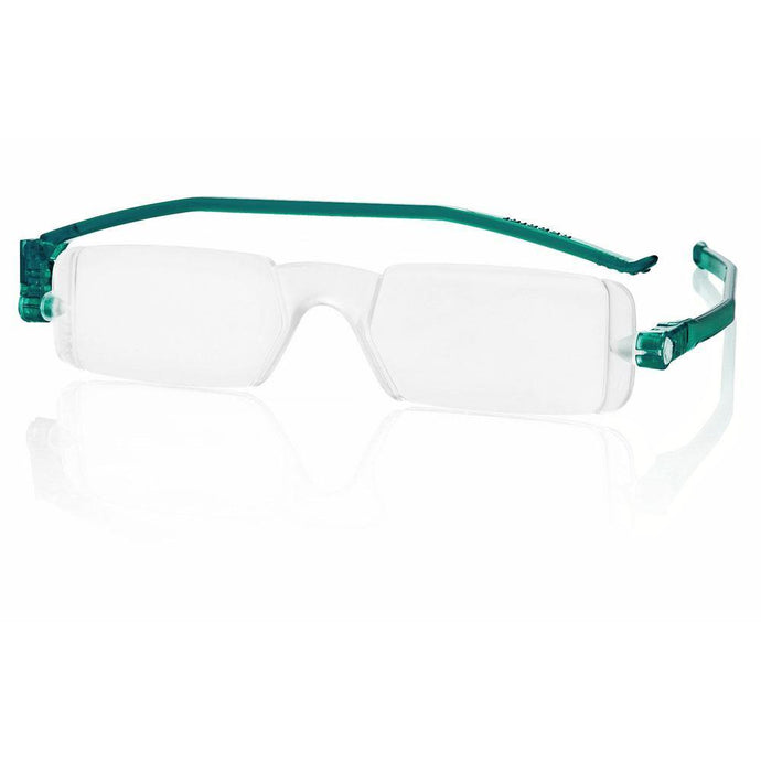Nannini Compact 1 Italian Made Folding Reading Glasses with Case; Teal