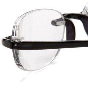 Extreme close-up view of black, or midnight, Gels Reading Glasses by Scojo New York