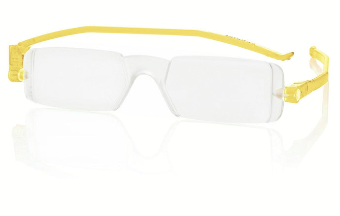 Nannini Compact 1 Italian Made Folding Reading Glasses with Case; Yellow