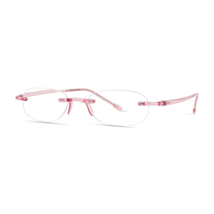Gels reading glasses in blush by Scojo New York, 3/4 view
