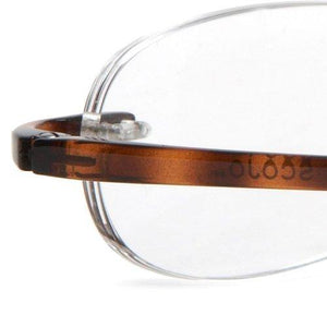 Extreme close-up view of Tortoise Shell Gels Reading Glasses by Scojo New York