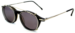 Black Magic Optical-quality Reading Glasses with Snap-on Sun Clip and Case. By Revolution Eyewear [+2.25 diopters]